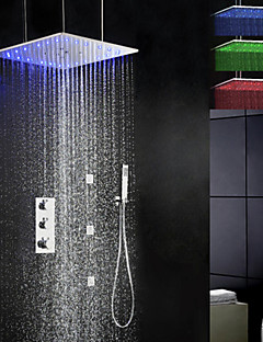 Shower Faucet Contemporary LED / Thermostatic / Rain Shower / Sidespray / Handshower Included Brass Chrome