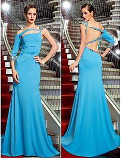 Vestido - Azul Baile Militar/Festa Formal Sereia Assimétrico Sweep / Brush Train Jersey Tamanhos Grandes