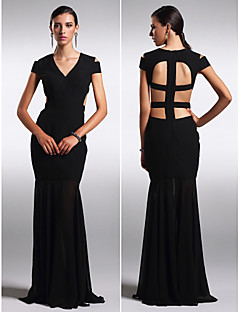 TS Couture® Formal Evening Dress - Beautiful Back Plus Size / Petite Sheath / Column V-neck Floor-length Chiffon with
