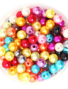 beadia 64 g (ca. 300pcs) abs perle perler 8mm runde blandet farve plast løse perler DIY tilbehør