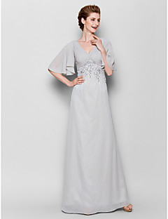 Sheath/Column Mother of the Bride Dress - Silver Floor-length Half Sleeve Chiffon