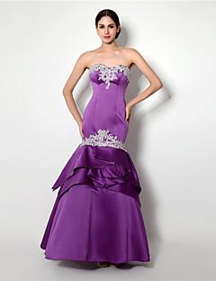 Formeller Abend Kleid - Lila Satin - Meerjungfrau-Linie / Mermaid-Stil - bodenlang - Herz-Ausschnitt