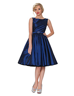 Party Dress Bateau Knee-length Swing Evening Taffeta Dress