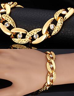 u7® klobigen figaro Armbänder für Männer Frauen 18K reales Gold überzog Armbänder Strass-Kristall-Schmuck