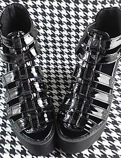 handgemachten schwarzen 12cm hohen Absatz klassische Lolita Schuhe