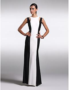 Formeller Abend Kleid Chiffon - Etui-Linie - bodenlang - Juwel-Ausschnitt