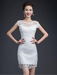 Sheath/Column Short/Mini Wedding Dress - Jewel Lace