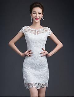 Sheath / Column Wedding Dress Short / Mini Jewel Lace with