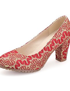 Women's Shoes Lace Chunky Heel Round Toe Pumps Wedding and Party More Colors available