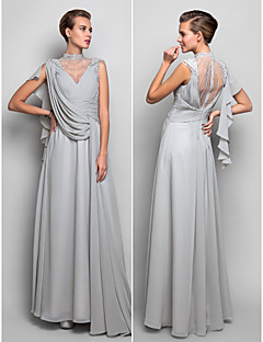 Formal Evening/Military Ball Dress - Silver Plus Sizes Sheath/Column Halter Floor-length Chiffon