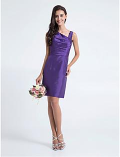 신부 들러리 드레스 - 레전시 시스/컬럼 무릎길이 V넥 엘라스틱 실크같은 사틴