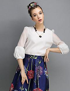 Γυναικεία Μπλούζα Εξόδου Χαριτωμένο Μονόχρωμο,¾ Μανίκι Στρογγυλή Λαιμόκοψη Άνοιξη Μεσαίου Πάχους Άσπρο / Μαύρο / Πορτοκαλί