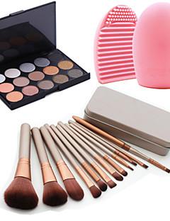 12pcs kosmetiske makeup værktøj blush foundation børste sæt box + 15colors glitre øjenskygge palet + 1stk pensel rengøring værktøj