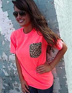 Leopard Ärmlös T-shirt Kvinnors Rund hals Bomull