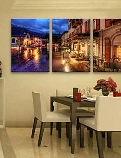 E-HOME® Stretched LED Canvas Print Art Street Shop LED Flashing Optical Fiber Print Set of 3