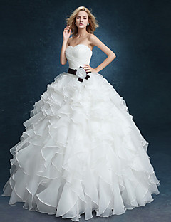 Ball Gown Wedding Dress - Glamorous & Dramatic Vintage Inspired Floor-length Sweetheart Velvet Chiffon withCascading Ruffle / Criss-Cross