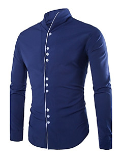 Men's Solid Work Shirt,Polyester Long Sleeve Black / Blue / White
