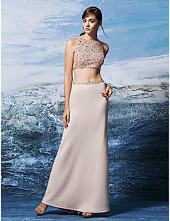 Prom Formal  Evening Dress - Two Pieces Sheath / Column Jewel Floor-length Sequined / Jersey with Sequins