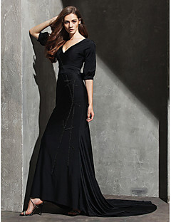 Formal Evening Dress - Black Sheath/Column V-neck Sweep/Brush Train Knit