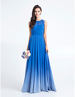 Lanting Bride® Floor-length Chiffon Color Gradient Bridesmaid Dress - Sheath / Column Scoop Plus Size / Petite with Ruching