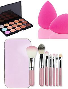 15 kleuren gezichtsbehandeling gezicht contour concealer crème palet + 7pcs roze doos make-up kwasten set kit + poederdons