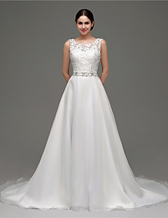 A-line Wedding Dress - White Court Train Scoop Organza