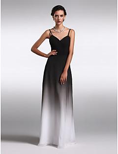 Formal Evening Dress - Multi-color Plus Sizes / Petite Sheath/Column Spaghetti Straps Floor-length Chiffon