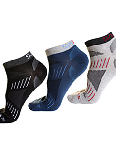 Outdoors Cotton 3 Pairs Differrnt Colour Men's Barreled Quick-Drying Wicking Dreathable Boat Socks 011