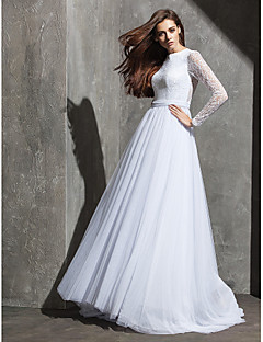 LAN TING BRIDE A-line Wedding Dress See-Through Sweep / Brush Train Jewel Lace Tulle with Button Sash / Ribbon