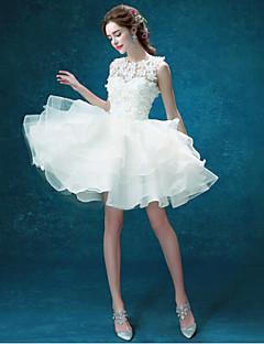Vestido de Noiva-Linha A Decorado com Bijuteria Curto/Mini Organza / Tule