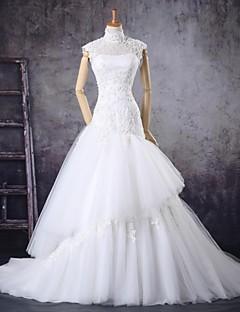 웨딩 드레스 - 아이보리(색상은 모니터에 따라 다를 수 있음) 트럼펫/멀메이드 쿼트 트레인 하이넥 튤