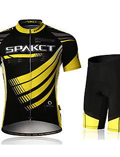 SPAKCT Cycling Jersey with Shorts Men's Short Sleeve Bike Padded Shorts/Chamois Jersey Shorts Clothing SuitsQuick Dry Ultraviolet