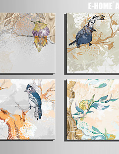 e-FOYER toile tendue art oiseaux sur l'arbre décoratif ensemble de 4 de peinture