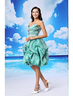 Cocktail Party Dress - As Picture Ball Gown Sweetheart Knee-length Organza / Satin