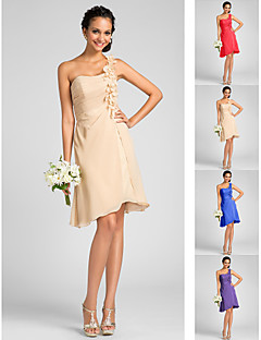Homecoming Bridesmaid Dress Knee Length Chiffon A Line One Shoulder Dress With Flowers