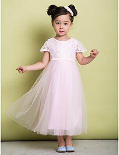 A-line Ankle-length Flower Girl Dress - Lace/Tulle Short Sleeve