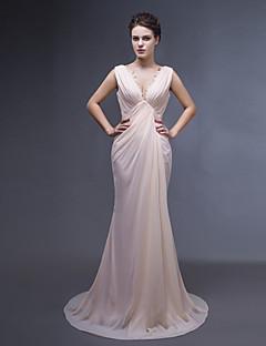 Kleid - Perlen Pink Chiffon - Meerjungfrau-Linie / Mermaid-Stil - Sweep / Pinsel Zug - V-Ausschnitt