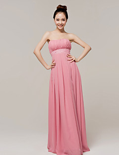 Floor-length Chiffon Bridesmaid Dress - As Picture A-line Strapless
