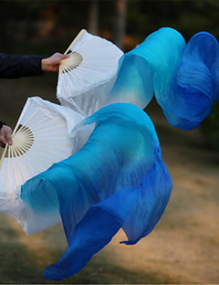 Hot Selling Belly Dance 100% Real Silk Fan Veils Silk Fabric White/Sky Blue/Blue 2pcs/L+R