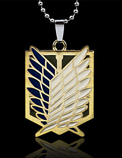 Attack On Titan Wings Shield Zinc Alloy Wing Men's Pendant Necklace With Silver Ball Chain