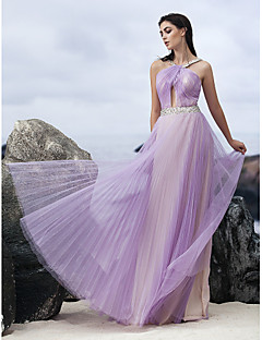 Formal Evening Dress - Lavender A-line Halter Floor-length Chiffon