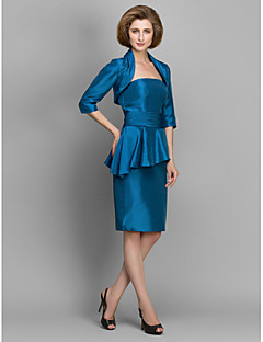Sheath/Column Mother of the Bride Dress - Ink Blue Knee-length Half Sleeve Taffeta