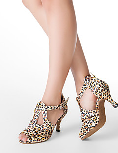 Customized Frauen Leopard Obermaterial Satin T-Strap Tanzschuhe