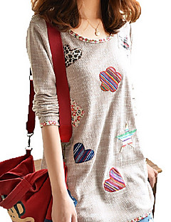 Women's Casual/Daily / Plus Size Simple Summer T-shirt,Patchwork Round Neck Long Sleeve Brown Polyester Medium