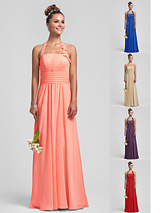 Floor-length Chiffon Bridesmaid Dress - Watermelon Plus Sizes Sheath/Column Halter