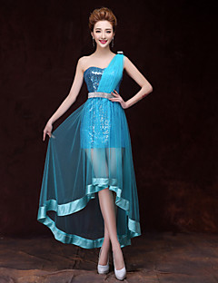 Cocktail Party Dress - Sky Blue Trumpet/Mermaid One Shoulder Short/Mini Satin/Tulle