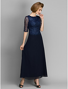 Sheath/Column Mother of the Bride Dress - Dark Navy Ankle-length Half Sleeve Chiffon