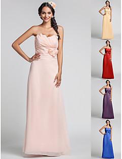 Kleid - Perlen Pink Chiffon - Etui-Linie - bodenlang - Herz-Ausschnitt