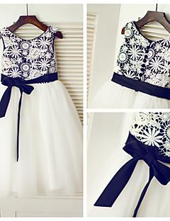 A-line Tea-length Flower Girl Dress - Lace/Tulle Sleeveless