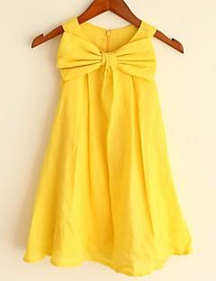 A-line Yellow Knee-length Flower Girl Dress - Linen Sleeveless